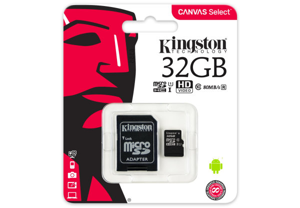 Карта памяти Kingston 32GB microSDHC UHS-I Canvas Select 80R class 10+SD Adapter